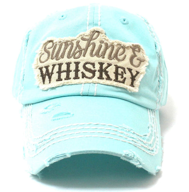 Ice Blue Sunshine & Whiskey Vintage Hat - Caps 'N Vintage