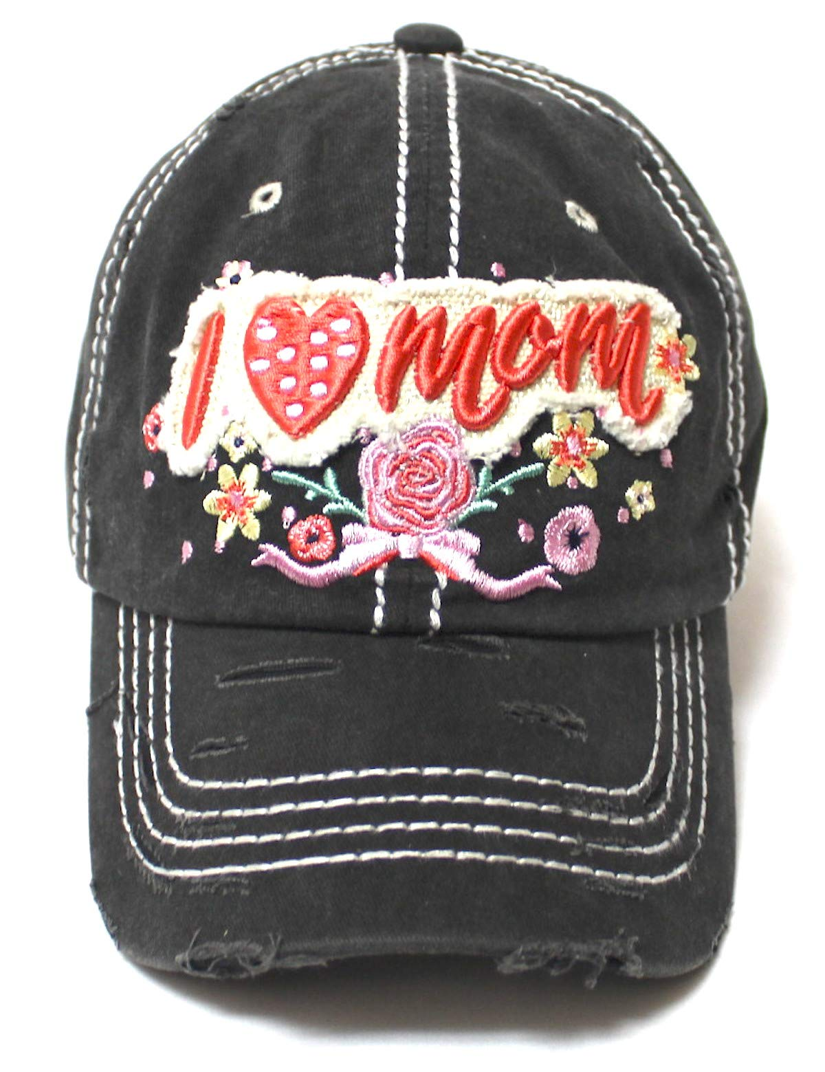 Women's Cap I Love Mom Hearts & Roses Patch Embroidery Monogram Hat, Vintage Black - Caps 'N Vintage