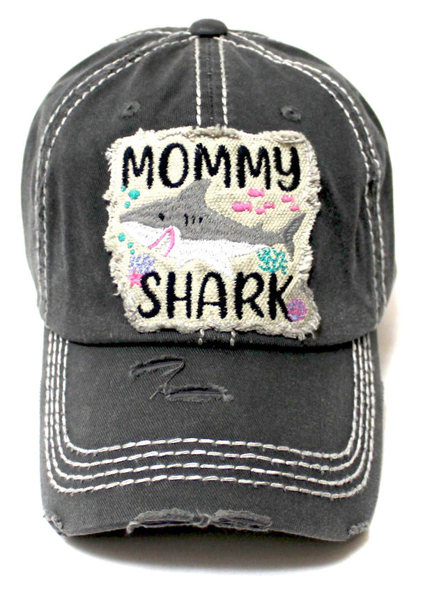 """Mommy Shark"" Patch Embroidery Monogram Ballcap, Seaworld Vintage Black - Caps 'N Vintage"