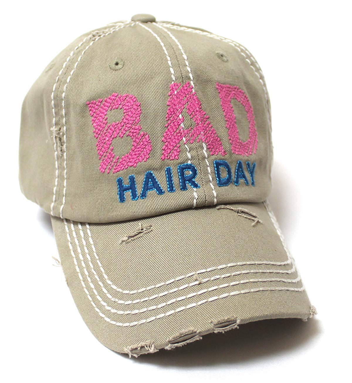 Bad Hair Day Stitch Embroidery Distressed Baseball Hat, Khaki - Caps 'N Vintage