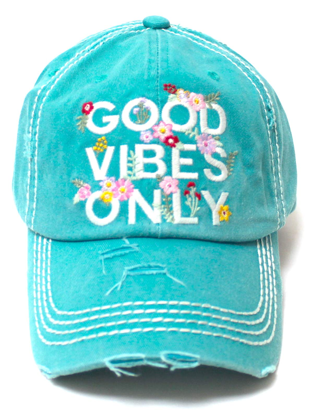 Women's Summer Ballcap Good Vibes Only Floral Monogram Embroidery Beach Hat, Ocean Blue - Caps 'N Vintage
