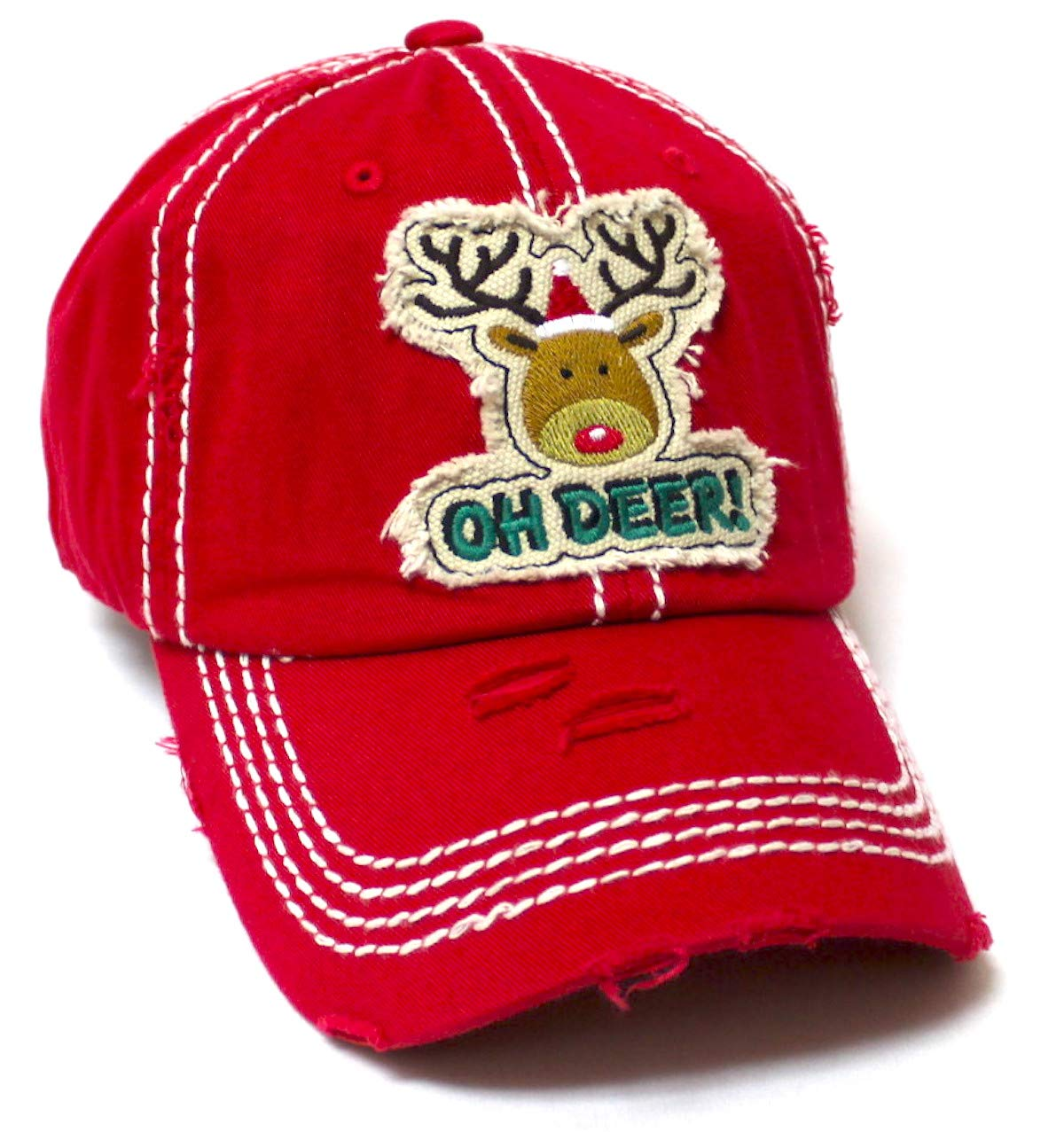 Women's Christmas Baseball Cap Oh Deer! Winter Reindeer w/Santa Claus Hat Patch Embroidery Monogram Hat, Merry Christmas Red