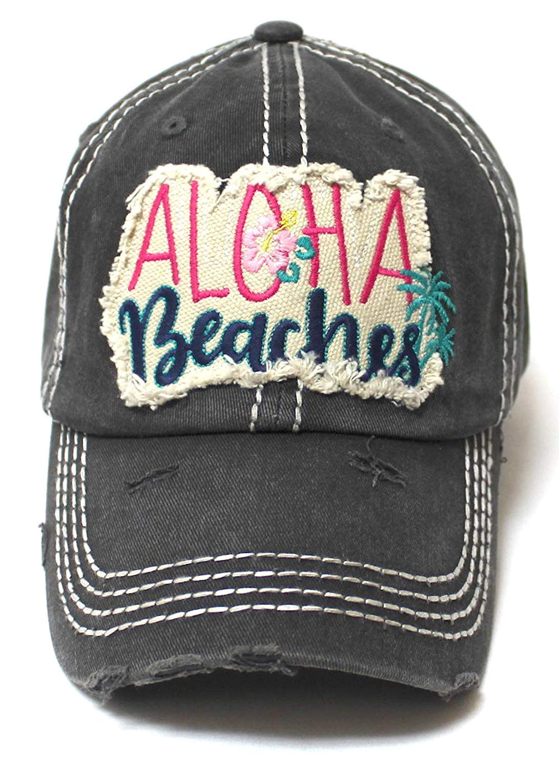 Aloha Beaches Patch Embroidery Distressed Baseball Hat, Vintage Black - Caps 'N Vintage