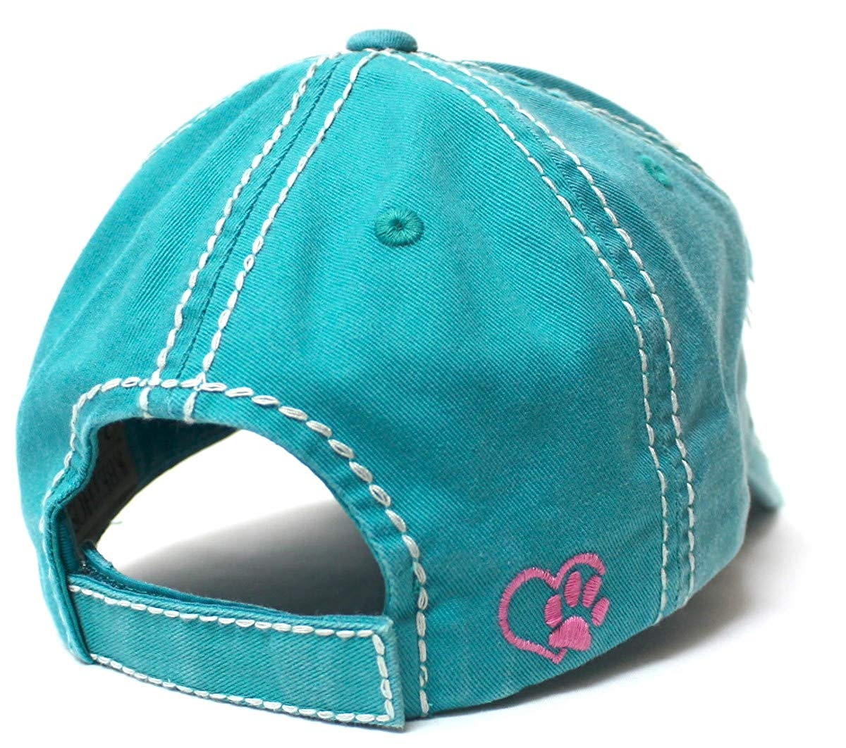 Women's Baseball Cap Crazy Dog Lady Patch Embroidery, Turquoise - Caps 'N Vintage
