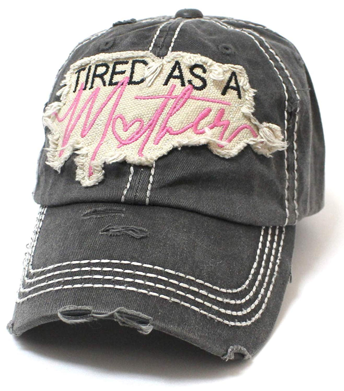 Black Tired AS A Mother Patch Embroidery Heart Cap - Caps 'N Vintage
