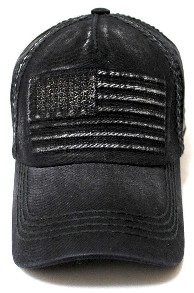 Classic Low Profile Vintage USA Flag Embroidery Ball Cap, Brushed Steel Black - Caps 'N Vintage