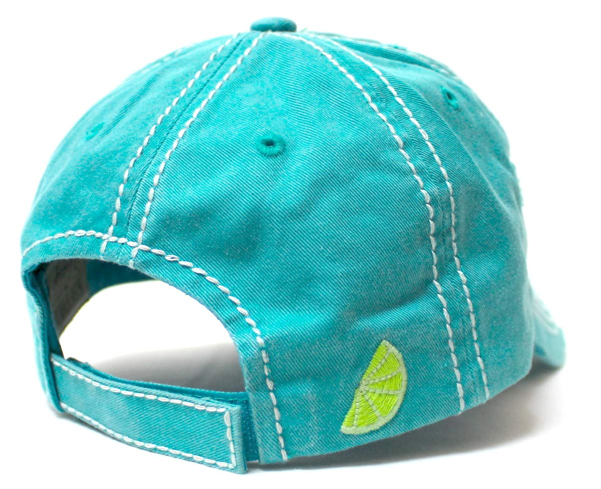 Women's Vintage Beach Cap You Make Me Crazy Lime & Margs Monogram Embroidery Baseball Hat, Turquoise - Caps 'N Vintage