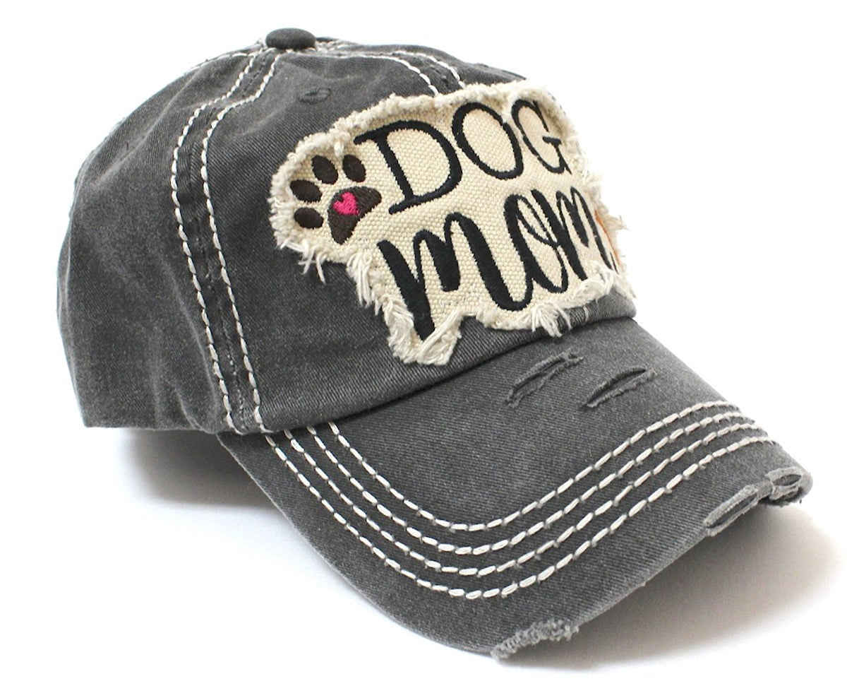 b2438a14993a65 CAPS 'N VINTAGE Vintage Black Dog MOM Patch Embroidery Baseball Hat - Caps  'N