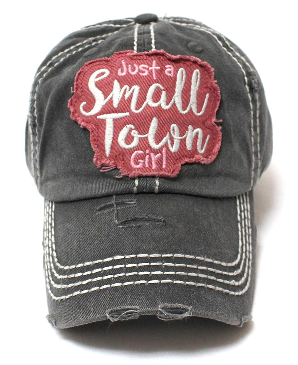 Vintage Black Just a Small Town Girl Patch Embroidery Ballcap - Caps 'N Vintage
