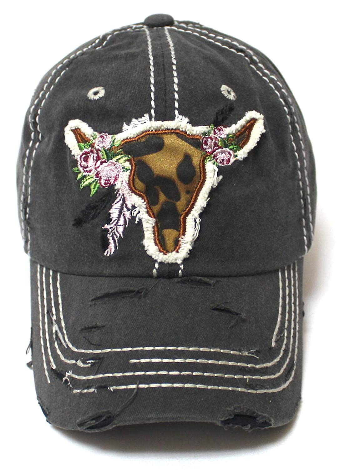 Women's Ballcap Leopard Print, Floral Cow Skull Feather Patch Embroidery Distressed Vintage Hat, Black - Caps 'N Vintage