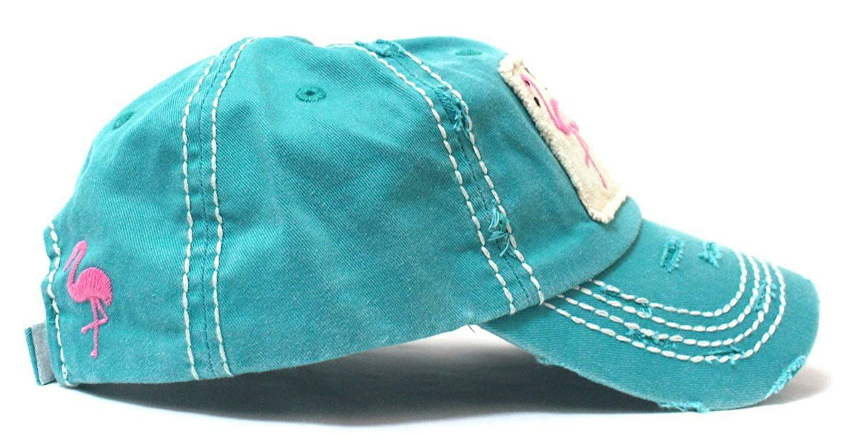 Turquoise I Don't Give a Flock Flamingo Patch Embroidery Hat - Caps 'N Vintage