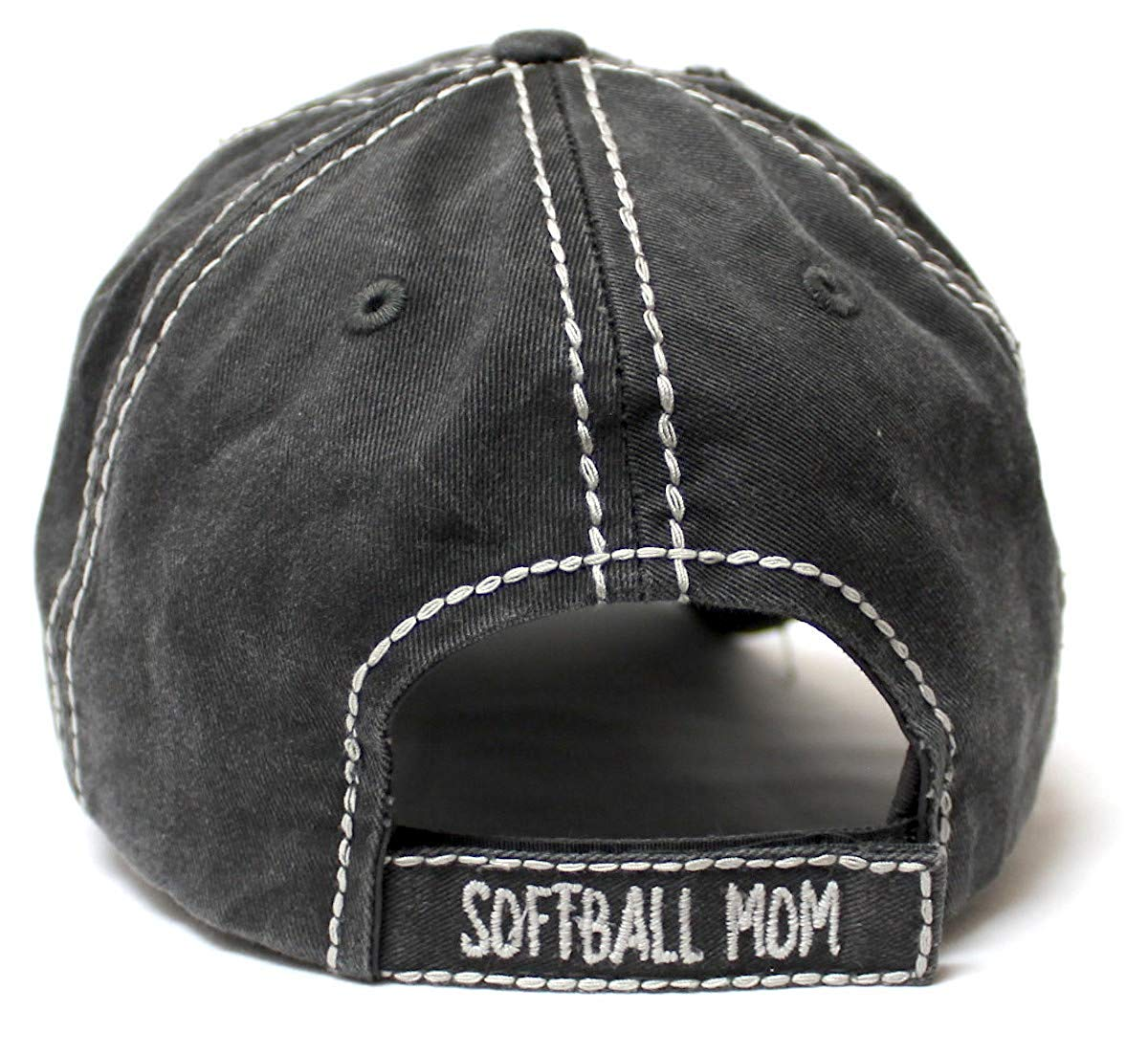 CAPS 'N VINTAGE Women's Softball Mom Baseball Cap Heart Softball Patch Embroidery, Black - Caps 'N Vintage
