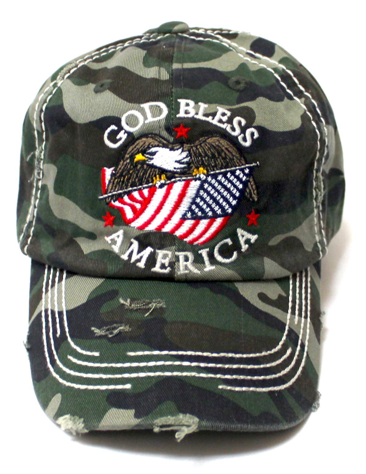Distressed Adjustable Ballcap God Bless America Eagle USA Flag Monogram Embroidery Hat, Army Camoflauge - Caps 'N Vintage