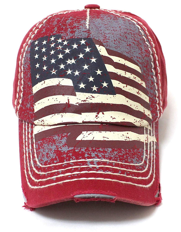 New! Amercan Red Folding USA Flag Vintage Ballcap - Caps 'N Vintage
