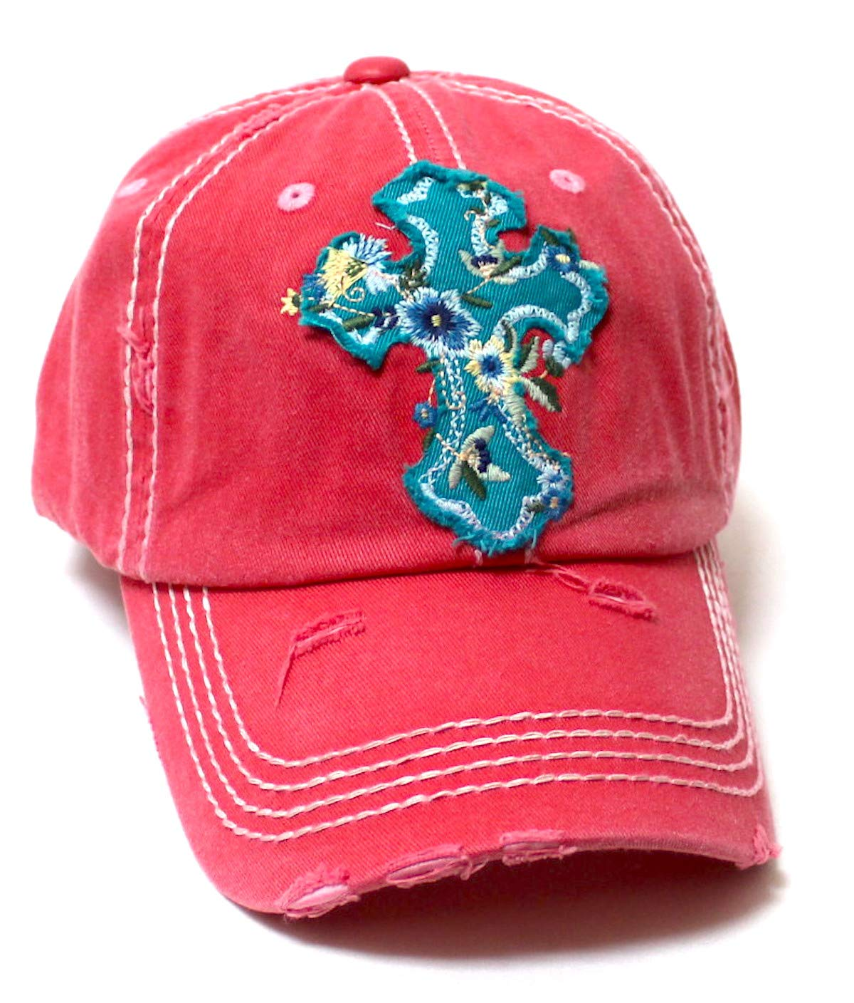 Women's Baseball Cap Romantic Floral Cross Embroidery Patch Monogram Adjustable Hat, Rose Pink