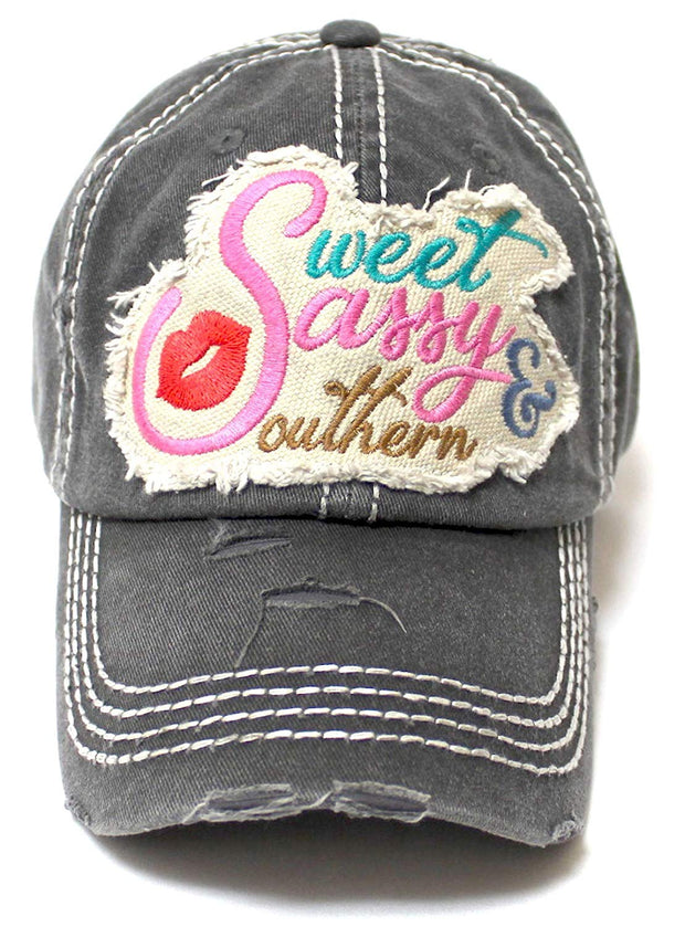 Women's Baseball Cap Sweet, Sassy & Southern Patch Embroidery Hat w/Red Kissy Lip Monogram, Charcoal - Caps 'N Vintage