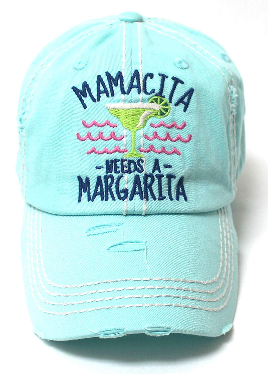 Women's Beach Cap Mamacita Needs A Margarita Monogram Hat, Fiji Blue - Caps 'N Vintage
