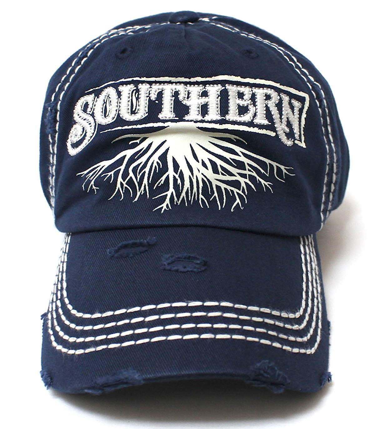 Navy Blue Southern Roots Sparkle Monogram Cap - Caps 'N Vintage