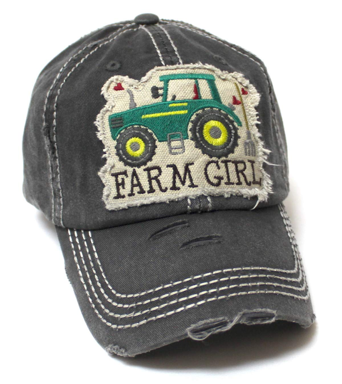 Women's Distressed Hat Farm Girl Country Love Patch Embroidery Monogram Ballcap, Vintage Black - Caps 'N Vintage