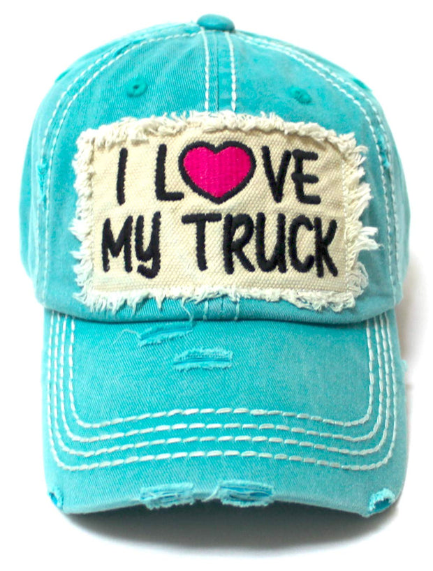 Women's Distressed Hat I Love My Truck Patch Embroidery Adjustable Cap, California Beach Blue - Caps 'N Vintage