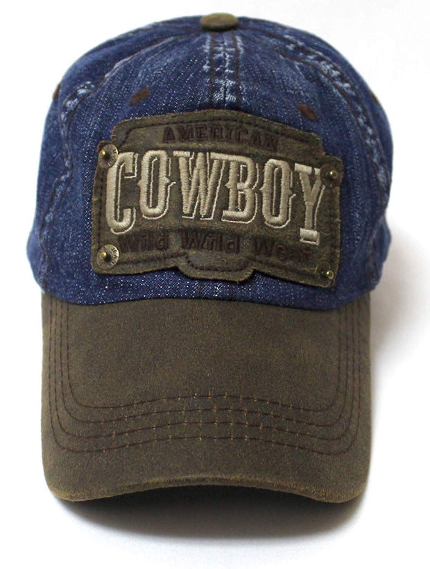 Classic Ballcap American Cowboy Wild Wild West Patch Embroidery Vintage Hat, Blue Denim - Caps 'N Vintage