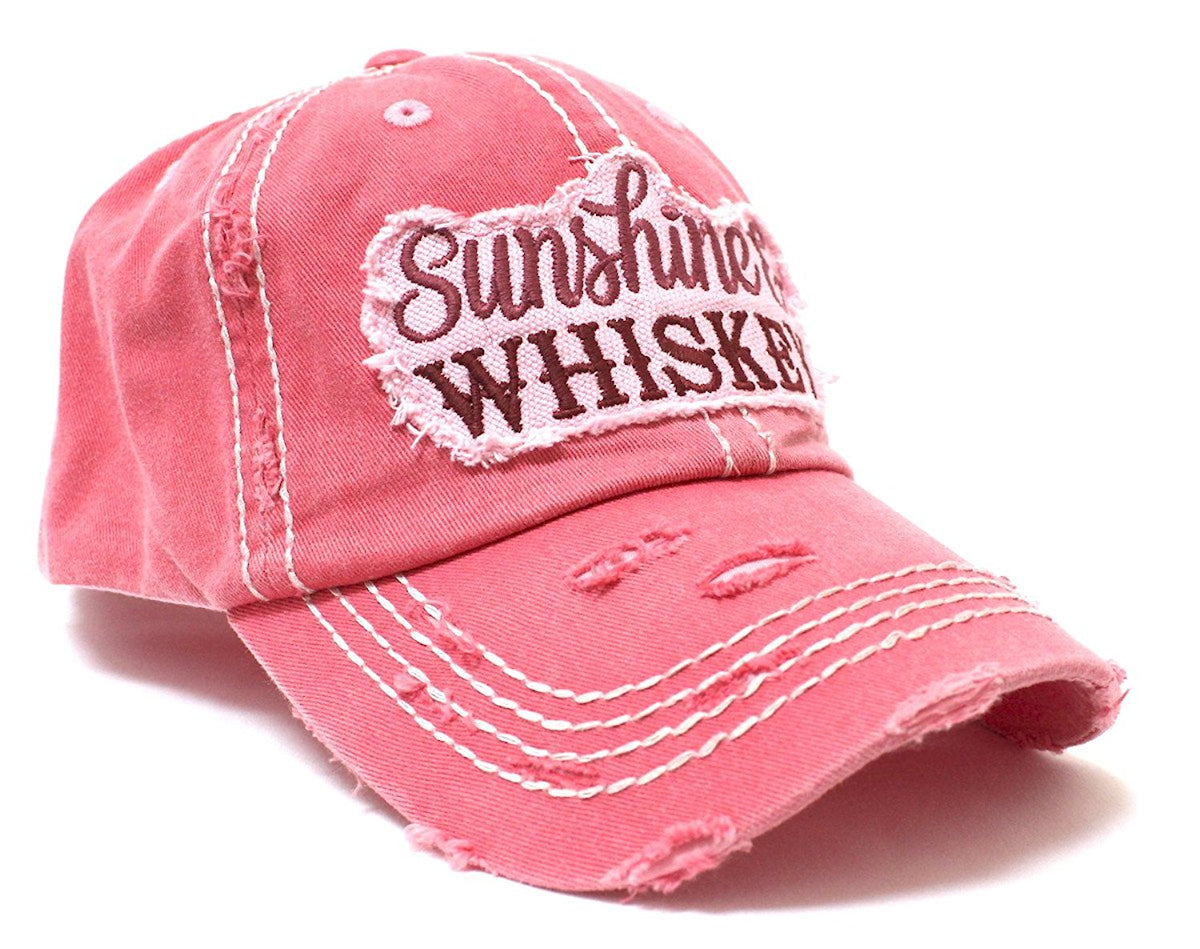 "NEW!! Rose ""Sunshine & Whiskey"" Distressed Hat - Caps 'N Vintage"