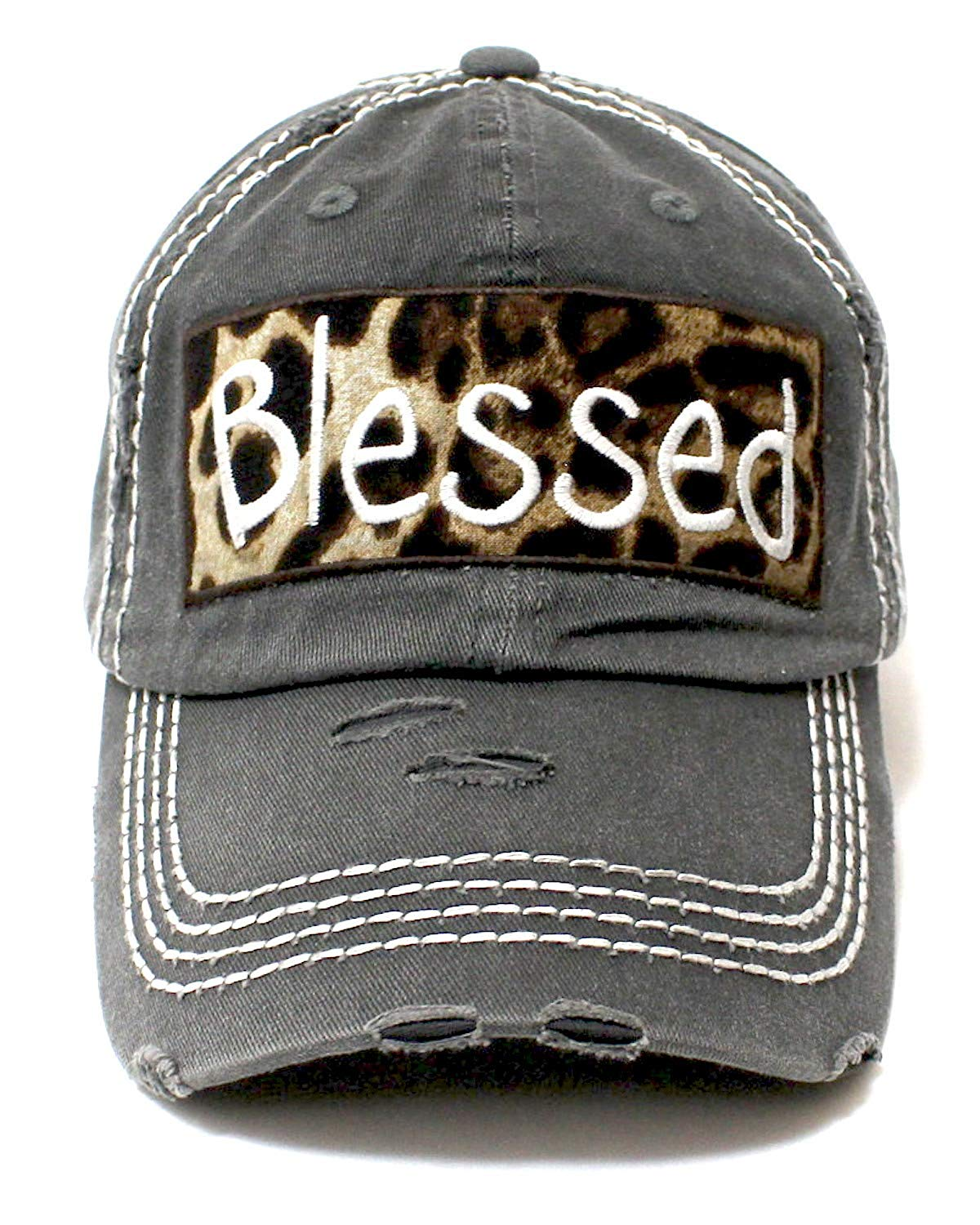 CAPS 'N VINTAGE Charcoal Blessed Leopard Patch Embroidery Hat - Caps 'N Vintage