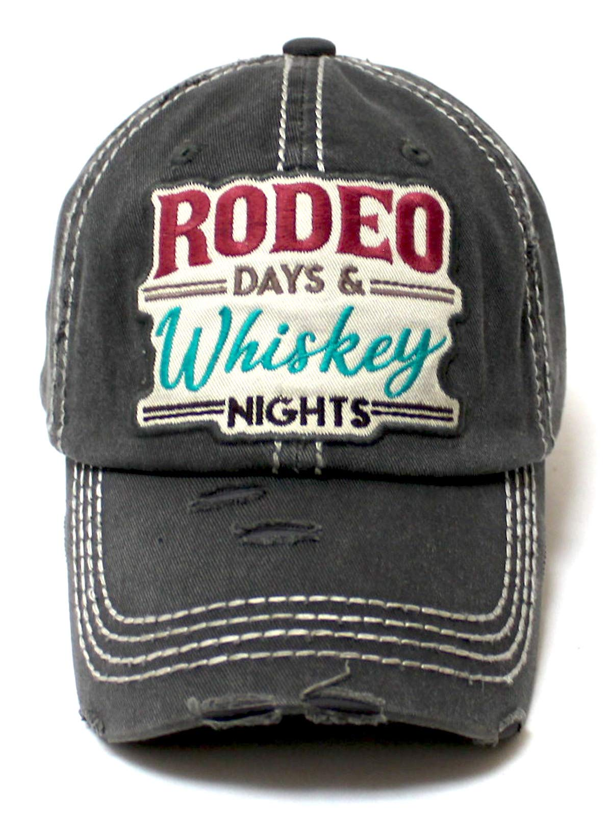 Rodeo Days Whiskey Nights Baseball Cap - Distressed Hats for Women - Summer Style Accessory in Vintage Black - Caps 'N Vintage