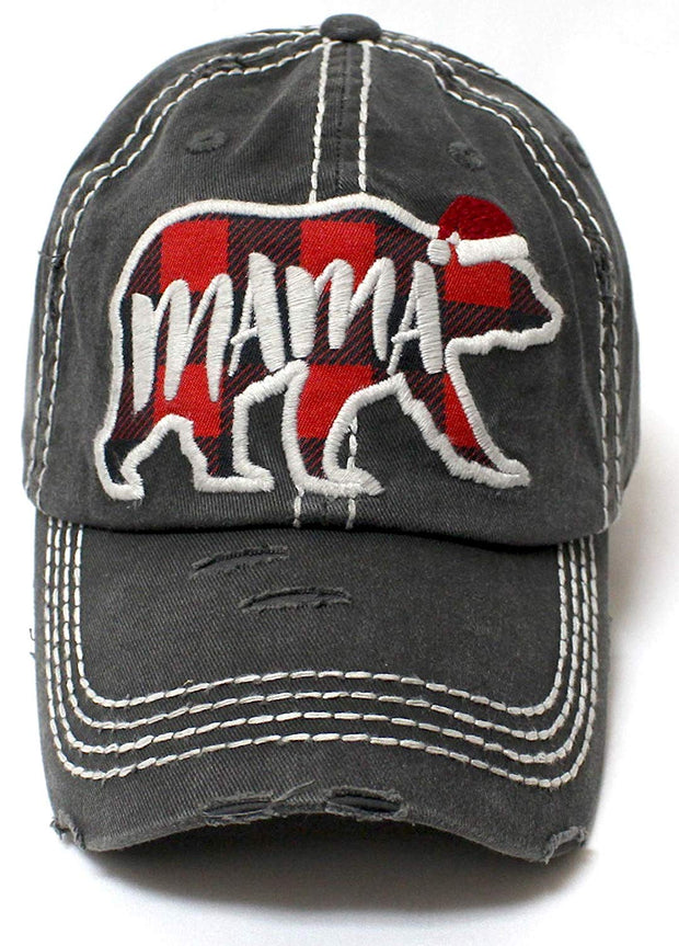 Women's Christmas Themed Mama Bear Monogram Ballcap - Caps 'N Vintage