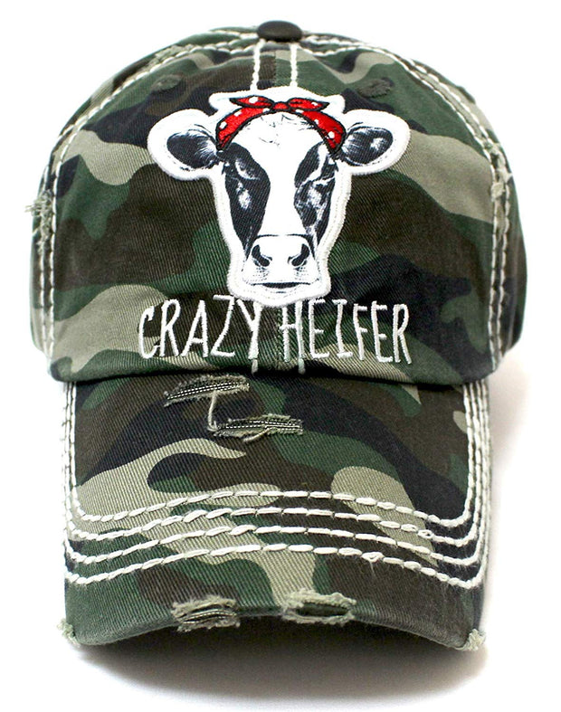 CAPS 'N VINTAGE Army Camoflauge Crazy Heifer Cow Patch Embroidery Hat - Caps 'N Vintage