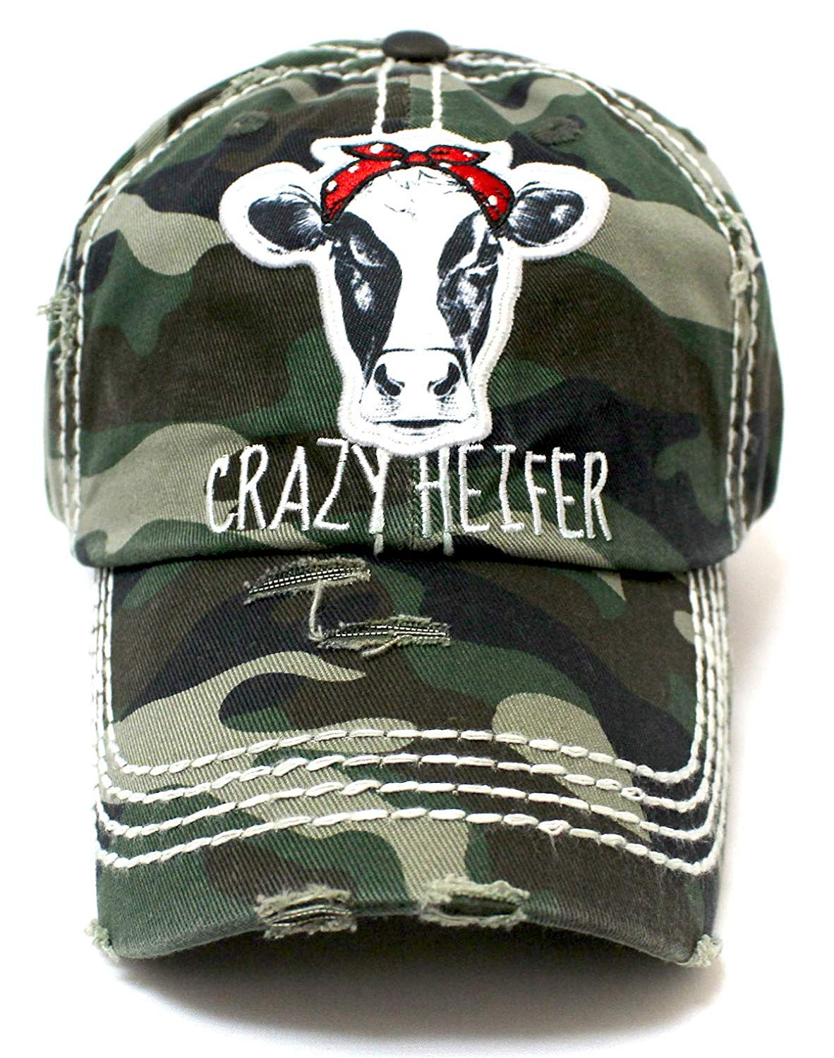 Crazy Heifer Cow Patch Embroidery Hat - Caps 'N Vintage