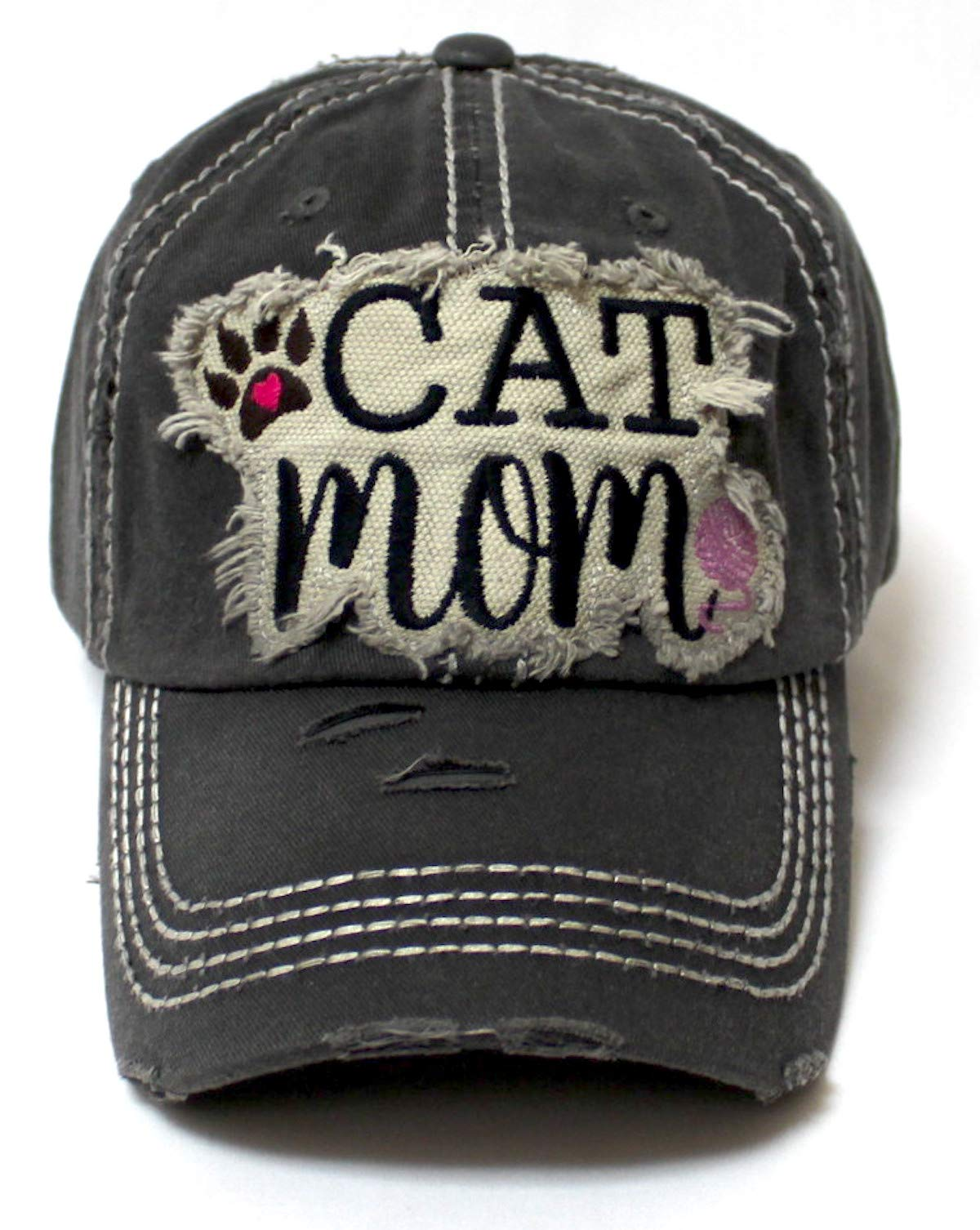Women's Ballcap Cat Mom Love Paw, Playing Yarn Paw Patch Embroidery Hat, Vintage Black