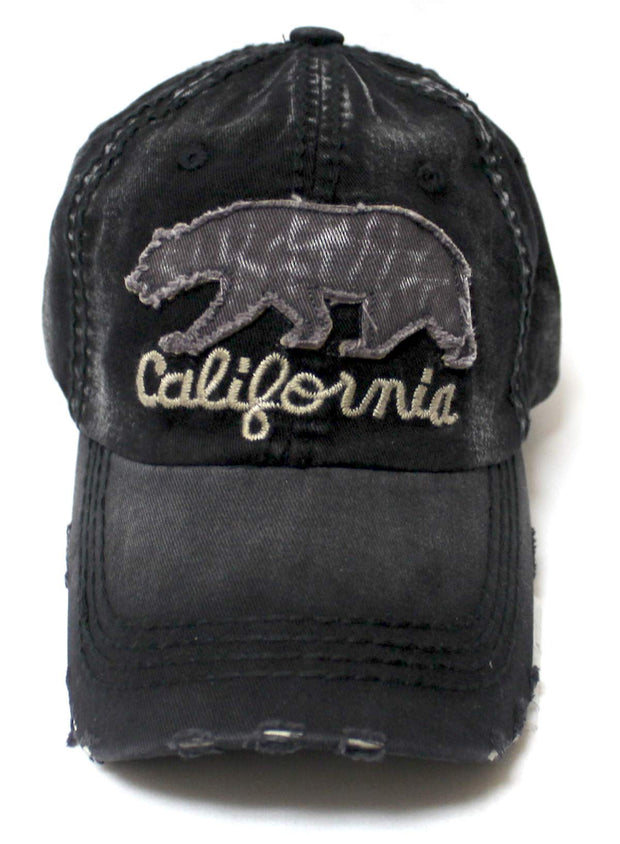 Distressed Adjustable Ballcap California Bear Monogram Embroidery Hat, Washed Vintage Black - Caps 'N Vintage