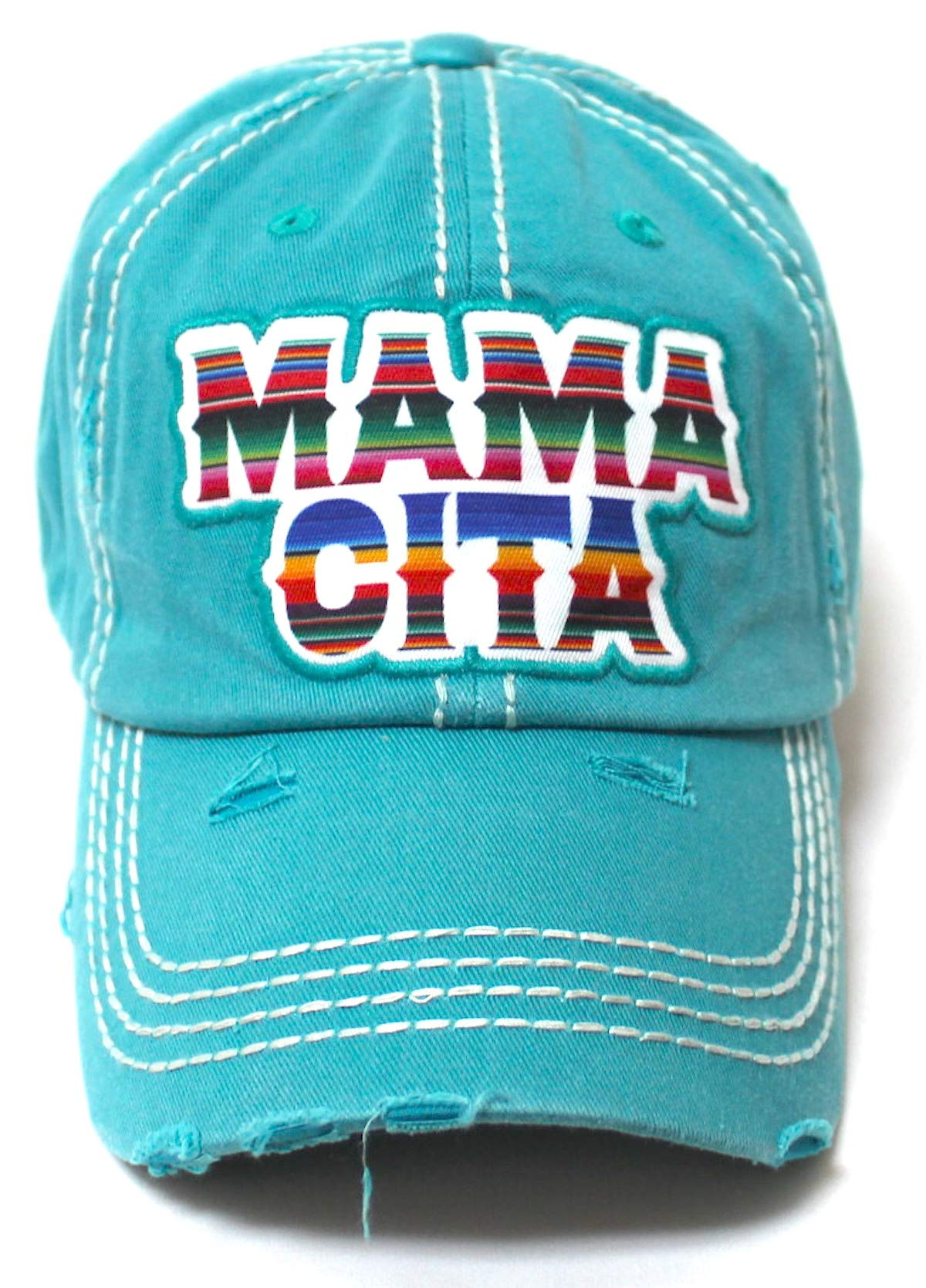 Women's Serape Themed Mamacita Monogram Embroidery Distressed Ballcap, Vintage Turquoise - Caps 'N Vintage