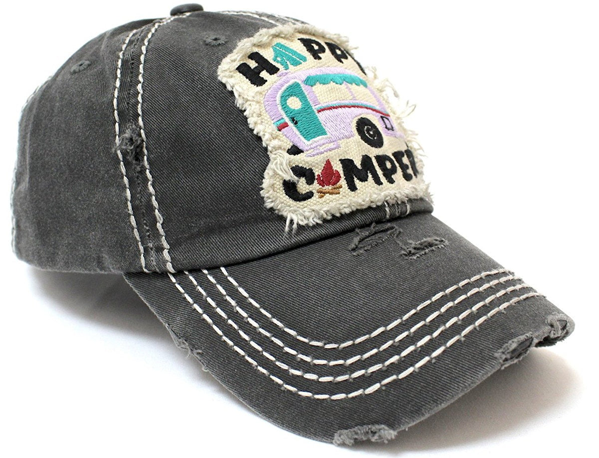 CAPS 'N VINTAGE Women's Happy Camper Camp Fire Patch Embroidery Baseball Hat-Blk/Blue - Caps 'N Vintage