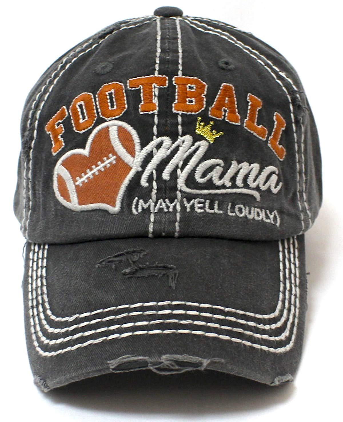 CAPS 'N VINTAGE Charcoal Gray Football Mama Cheer Queen Hat - Caps 'N Vintage