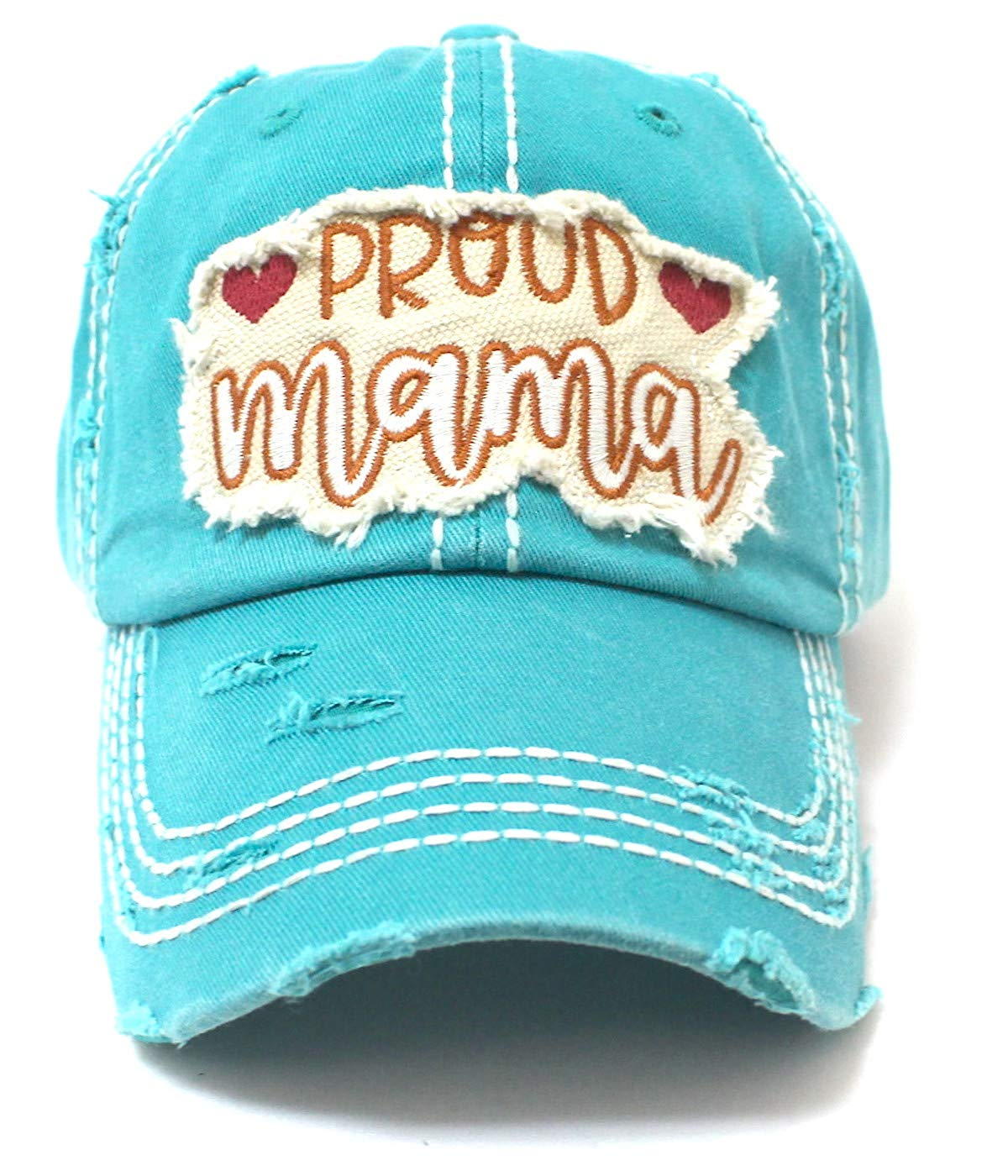"Turquoise""PROUD mama"" Patch Embroidery Vintage Cap Accessory - Caps 'N Vintage"