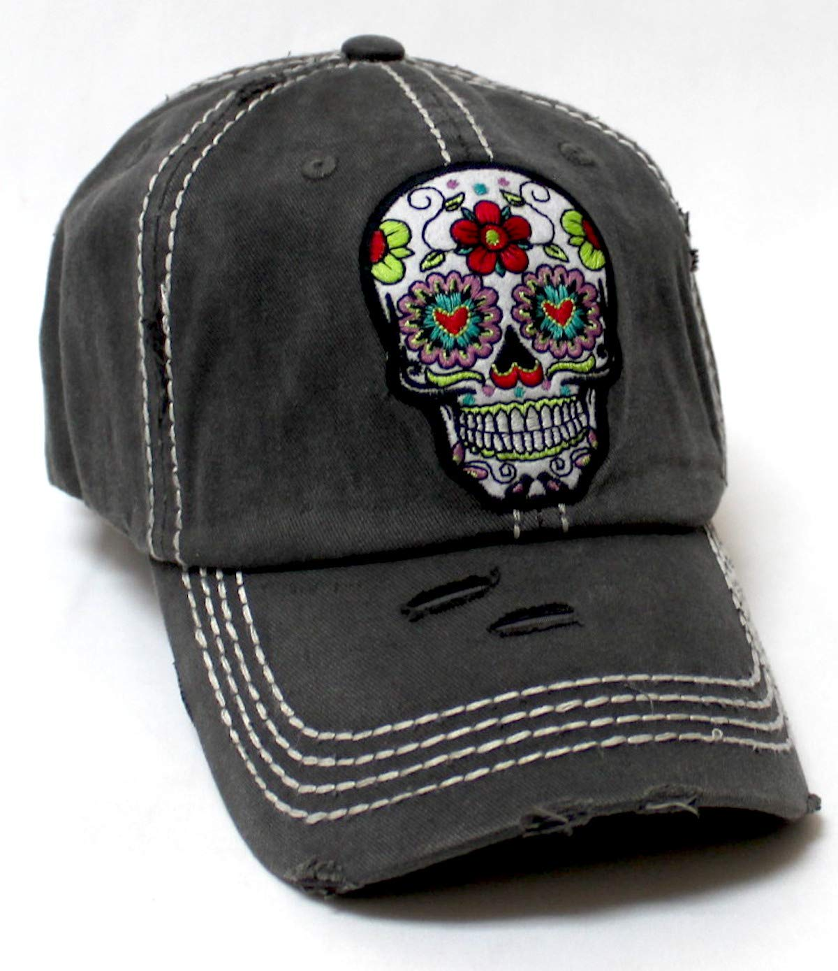 Women's Vintage Hat Sugar Skull Monogram Patch Embroidery Baseball Cap, Distressed American Black