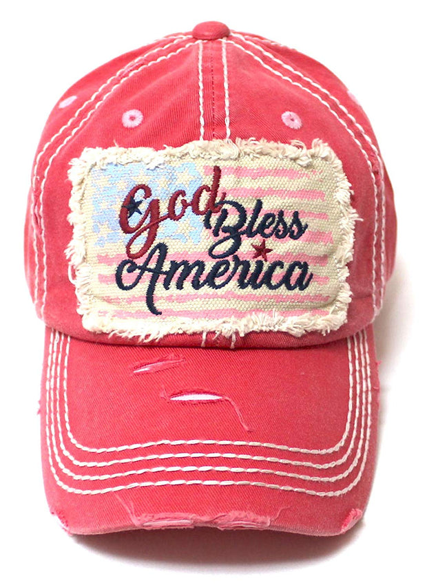 CAPS 'N VINTAGE USA Flag Patch God Bless America Embroidery Ballcap, Rose Pink - Caps 'N Vintage