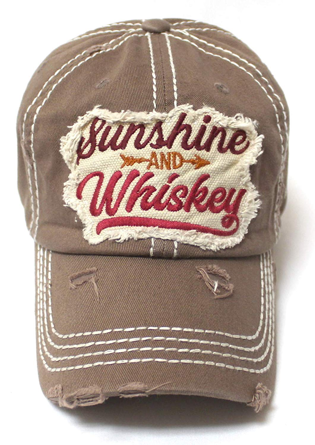 Sunshine and Whiskey Tribal Arrow Patch Embroidery Hat, Copper Brown - Caps 'N Vintage