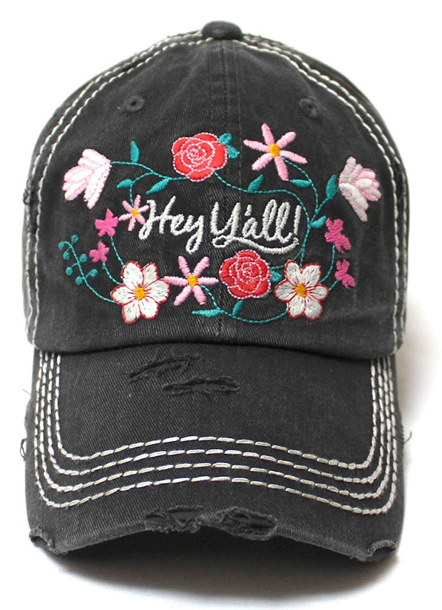 Women's Summer Ballcap Hey Y'all! Wildflower Embroidery Hat, Black - Caps 'N Vintage