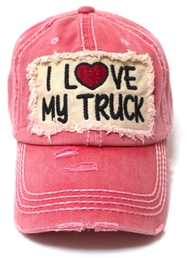 Women's Distressed Hat I Love My Truck Patch Embroidery Adjustable Cap, Rose Beach Pink - Caps 'N Vintage