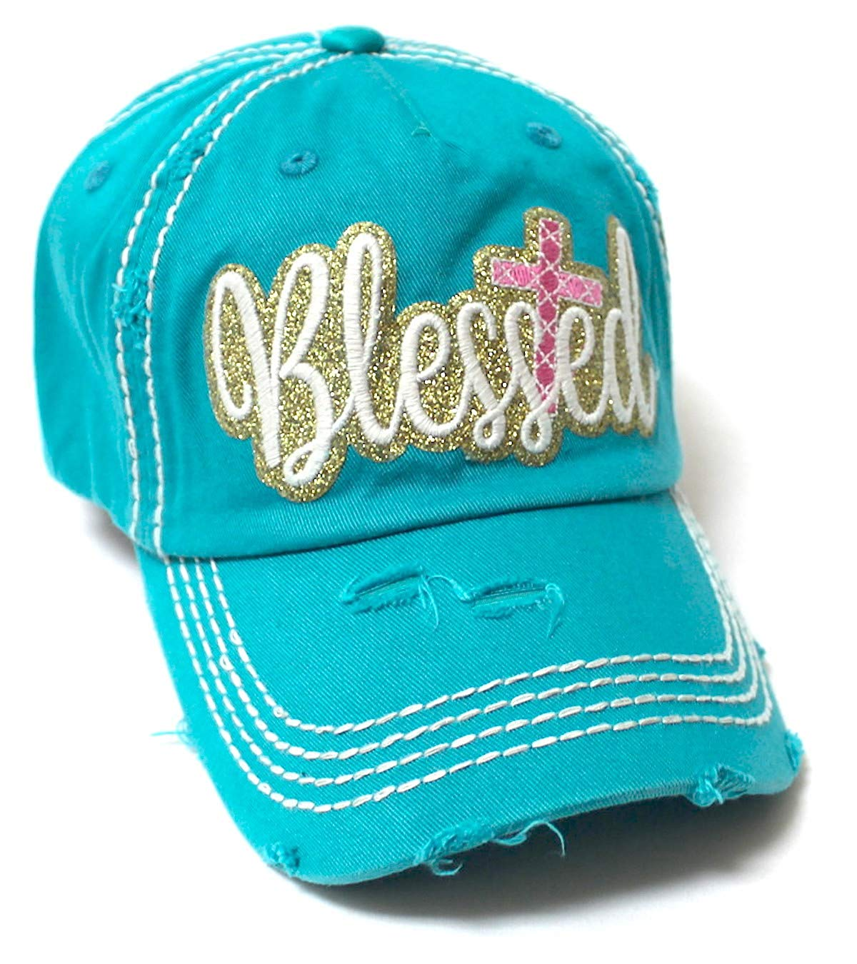 Women's Sparkle Blessed Glitter Ballcap Embellished Cross Monogram Embroidery, Turquoise - Caps 'N Vintage