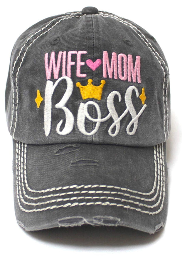 Women's Ballcap Wife Mom Boss Queen Crown Embroidery Hat, Vintage Black - Caps 'N Vintage