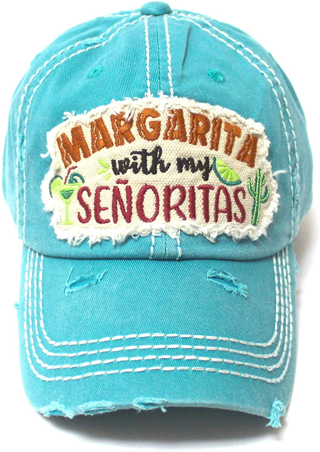 CAPS 'N VINTAGE Women's Ballcap Margarita with My Senoritas Beach Themed Patch Embroidery Hat, Turquoise Blue - Caps 'N Vintage