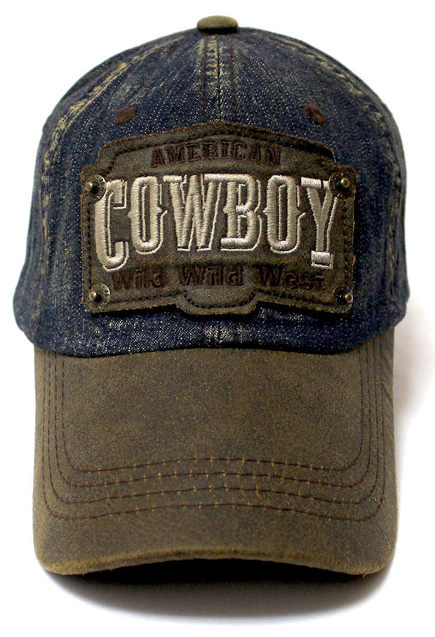Classic Ballcap American Cowboy Wild Wild West Patch Embroidery Vintage Hat, Sand Denim - Caps 'N Vintage