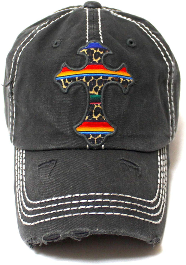 Classic Distressed Ballcap Christian Cross Monogram Embroidery, Serape Leopard Patterned Adjustable Hat, Vintage Blk