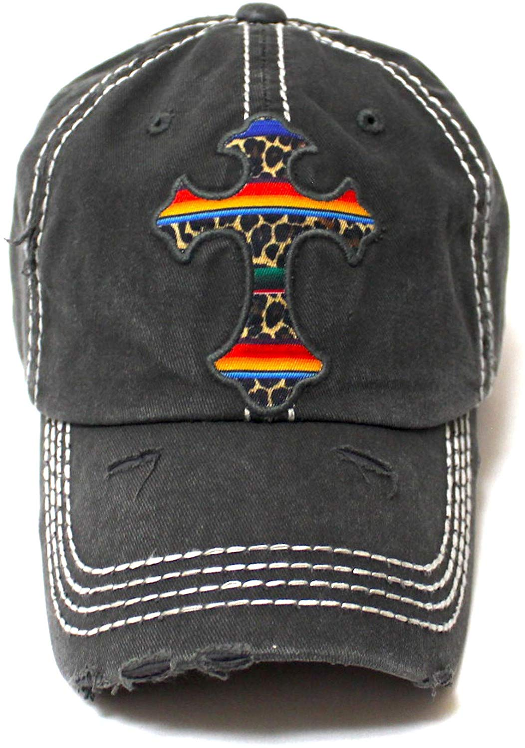 Classic Distressed Ballcap Christian Cross Monogram Embroidery, Serape Leopard Patterned Adjustable Hat, Vintage Blk - Caps 'N Vintage