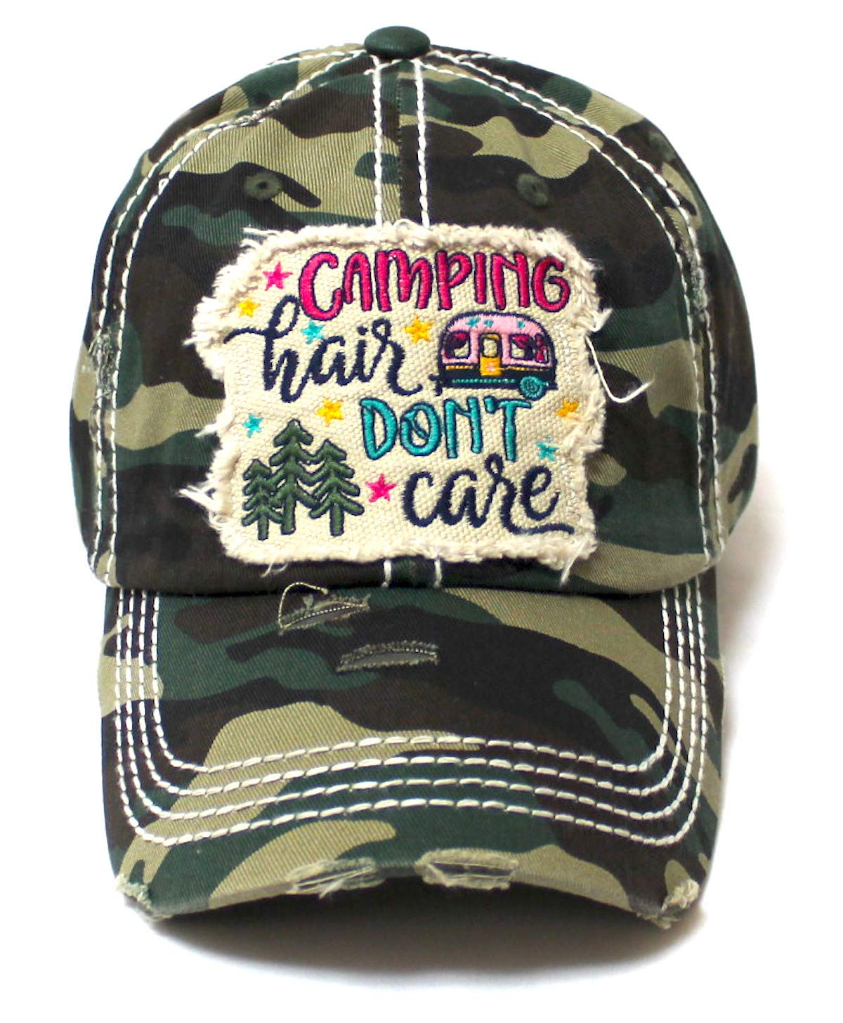 CAPS 'N VINTAGE Women's Baseball Cap Camping Hair Don't Care Patch Embroidery Monogram Hat, Army Camoflauge - Caps 'N Vintage