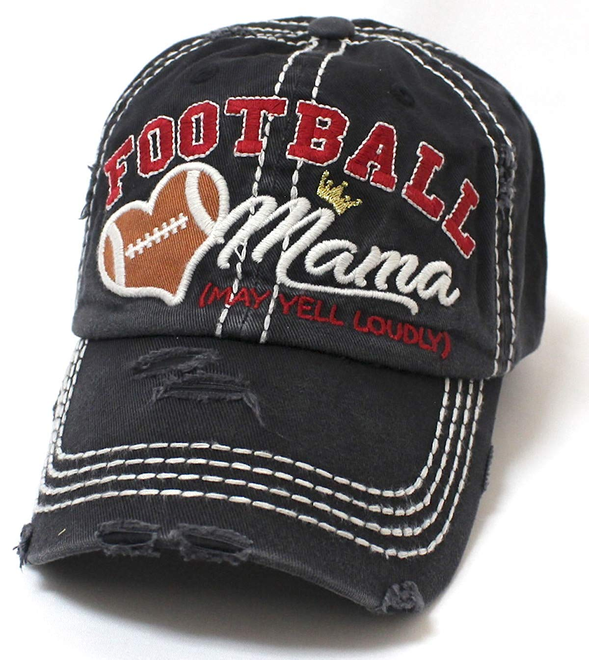 CAPS 'N VINTAGE Black Football Mama Cheer Queen Hat - Caps 'N Vintage